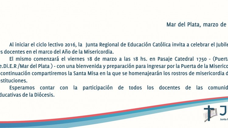 """El 18 de marzo se realizará el """"Jubileo de los docentes"""""""