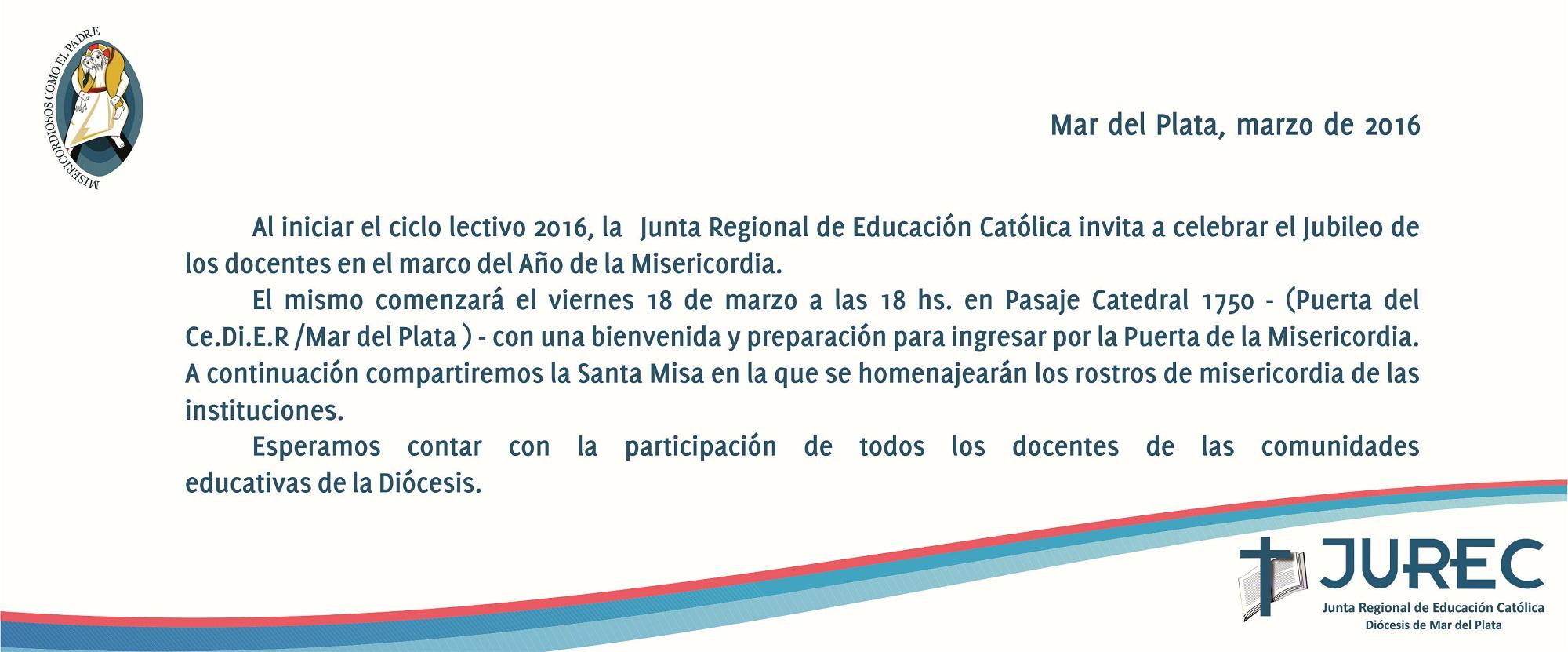 El 18 de marzo se realizará el «Jubileo de los docentes»