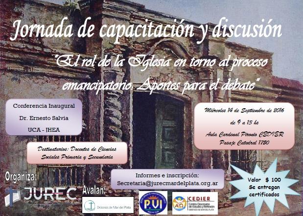Jornada de capacitación y discusión: «El rol de la Iglesia en torno al proceso emancipatorio: Aportes para el debate»