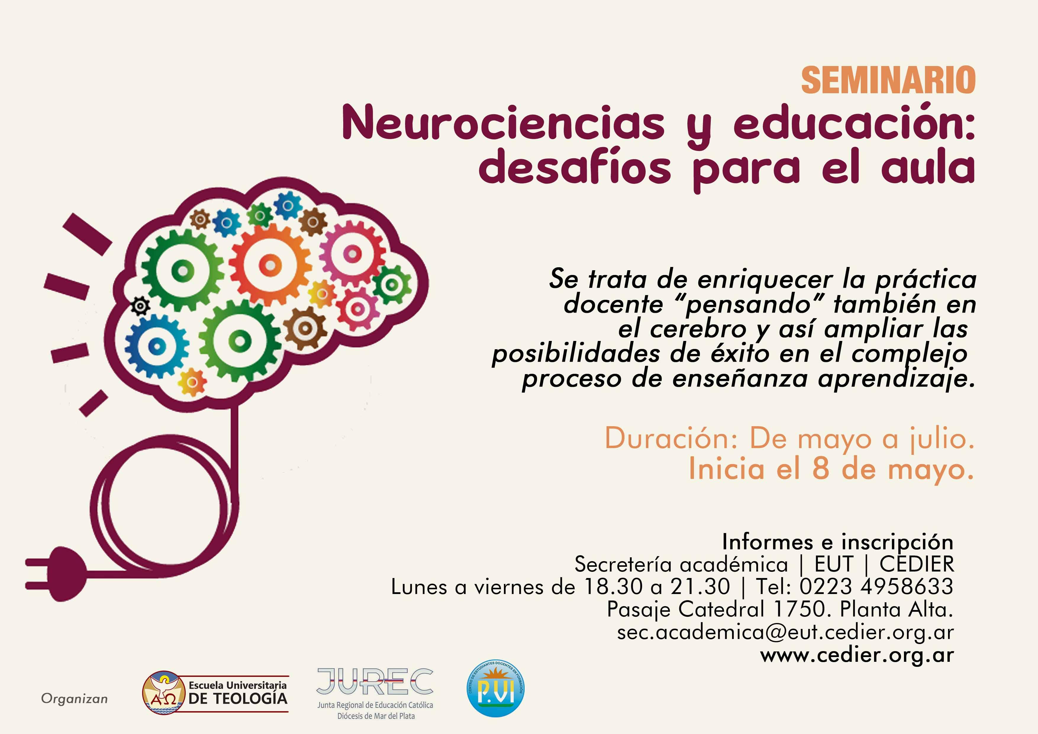 """Abierta la inscripción para el seminario """"Neurociencias y educación: desafíos para el aula"""""""