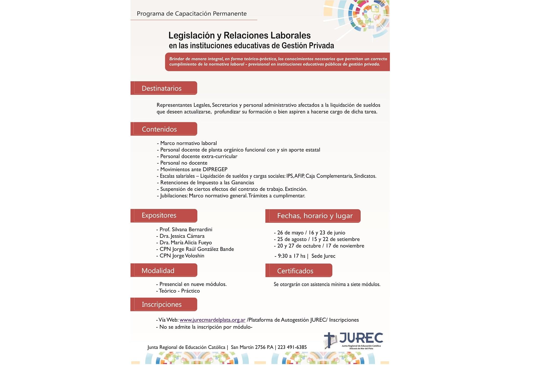 El viernes 26 de mayo inicia el curso Legislación y Relaciones Laborales en las instituciones educativas de Gestión Privada