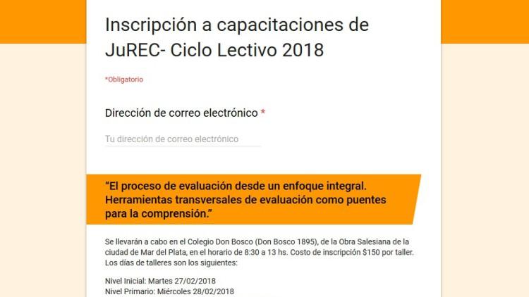 Inscribite a las capacitaciones de inicio del Ciclo Lectivo 2018