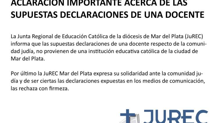 ACLARACIÓN IMPORTANTE ACERCA DE LAS SUPUESTAS DECLARACIONES DE UNA DOCENTE
