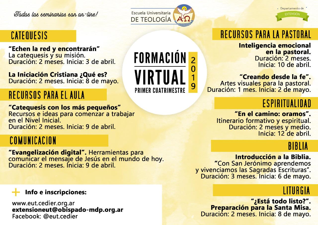 Oferta formativa virtual y a distancia de la Escuela Universitaria de Teología