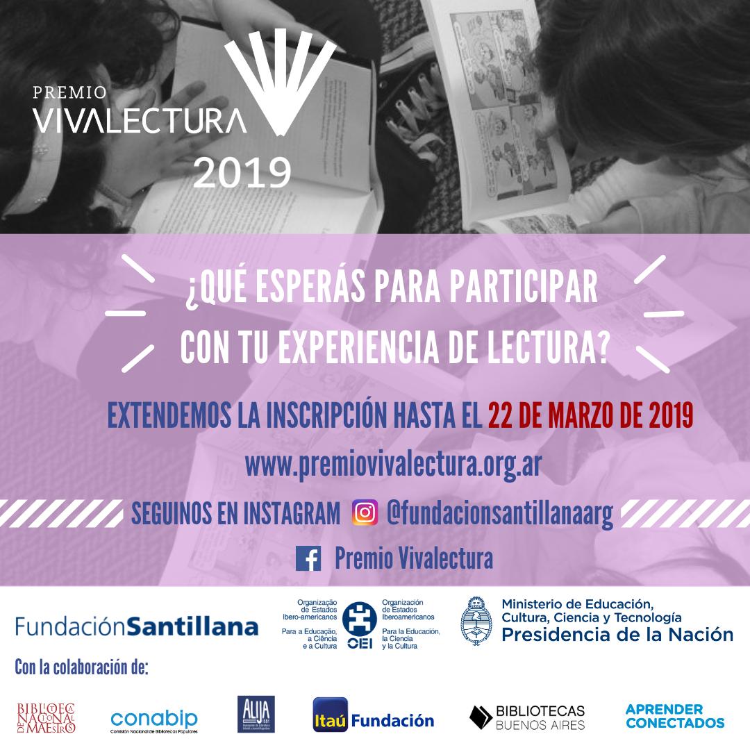 Se extiende la inscripción al Premio Vivalectura 2019