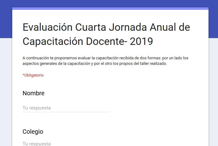 ENCUESTA CUARTAS JORNADAS ANUALES DE CAPACITACIÓN DOCENTE 2019