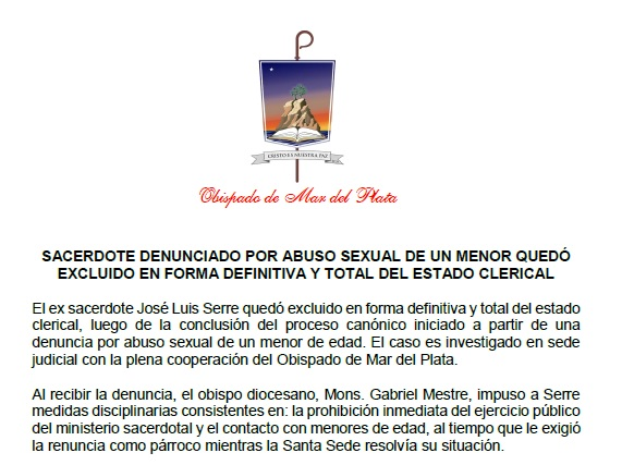 Sacerdote denunciado por abuso sexual de un menor quedó excluido en forma definitiva y total del estado clerical