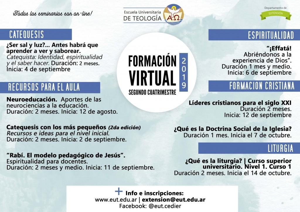 Cedier- Información seminarios virtuales 2º cuatimestre 2019