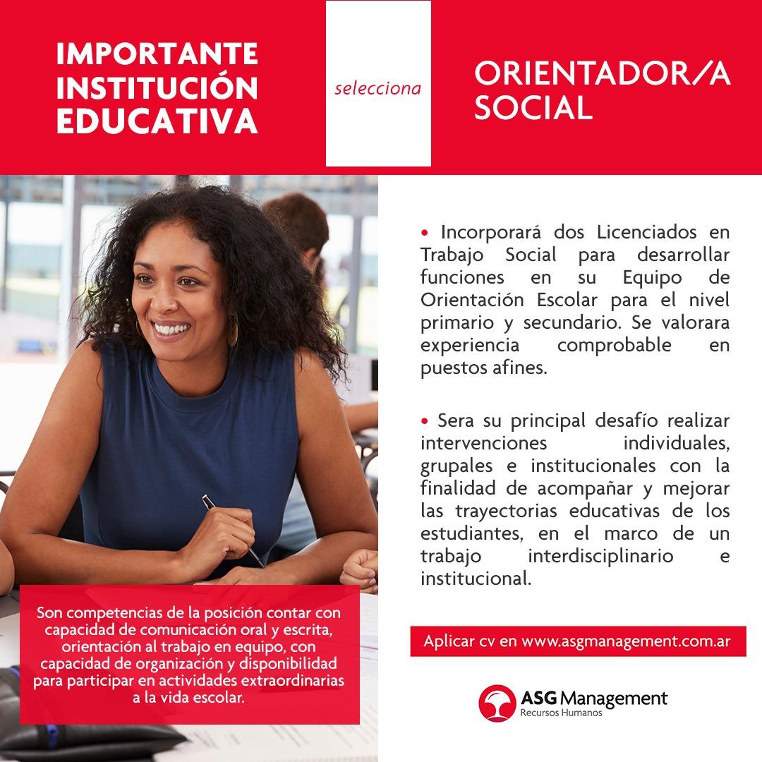 Cobertura de Cargos Orientador/a Social: Colegio José M. Estrada e Instituto Don Orione Mar del Plata