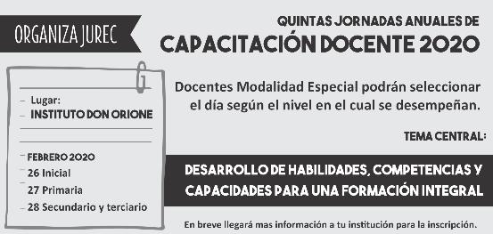 QUINTAS JORNADAS ANUALES DE CAPACITACIÓN DOCENTE 2020