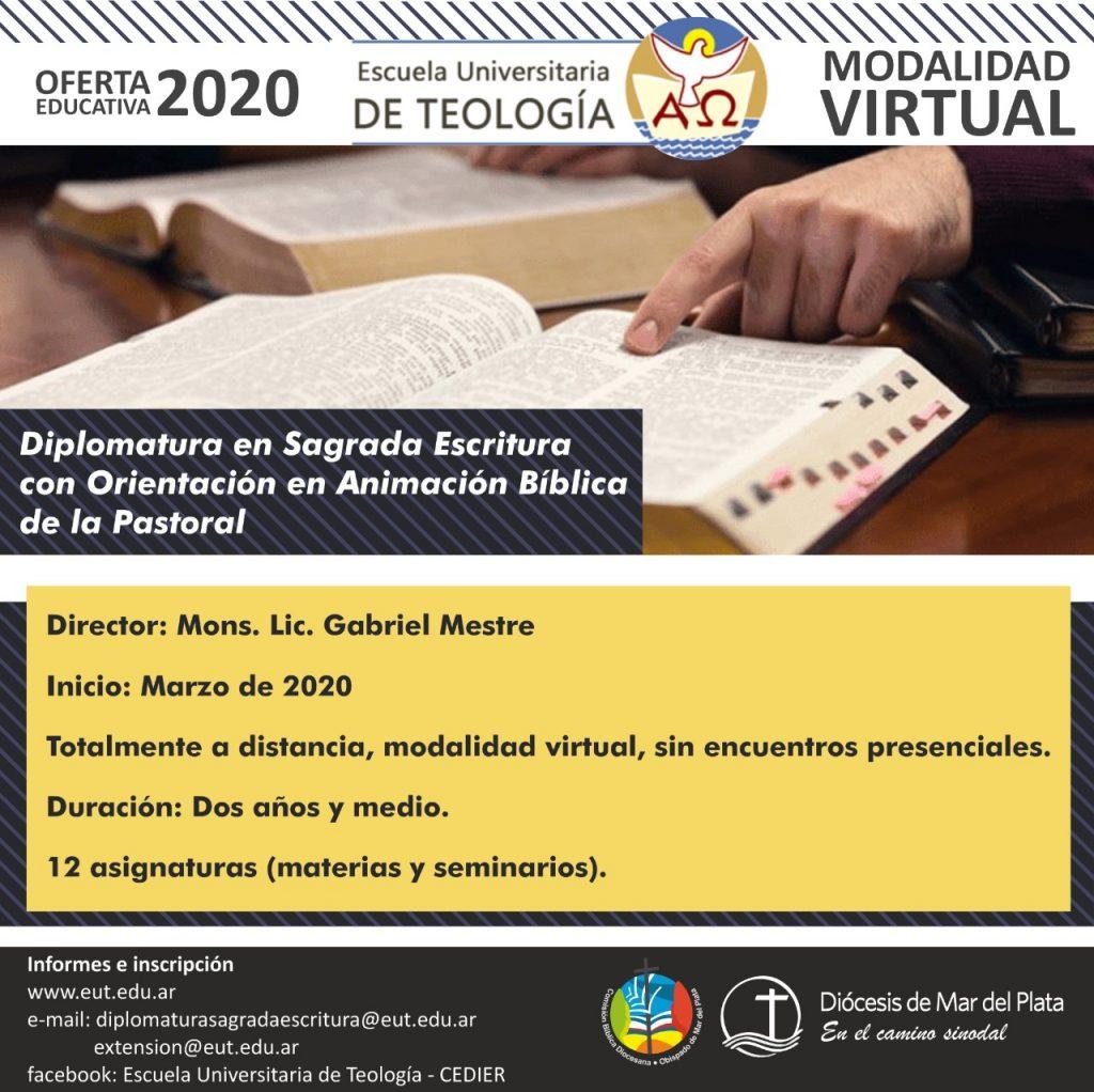 DIPLOMATURA EN SAGRADA ESCRITURA CON ORIENTACIÓN EN ANIMACIÓN BÍBLICA DE LA PASTORAL