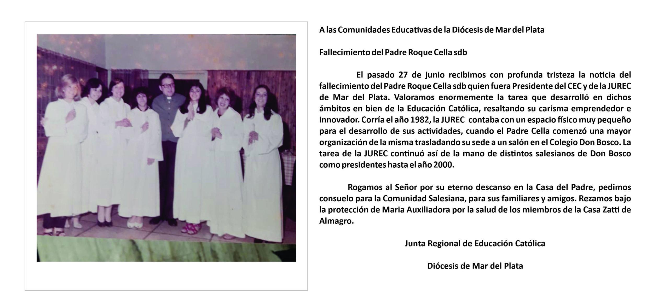 Fallecimiento del Padre Roque Cella sdb