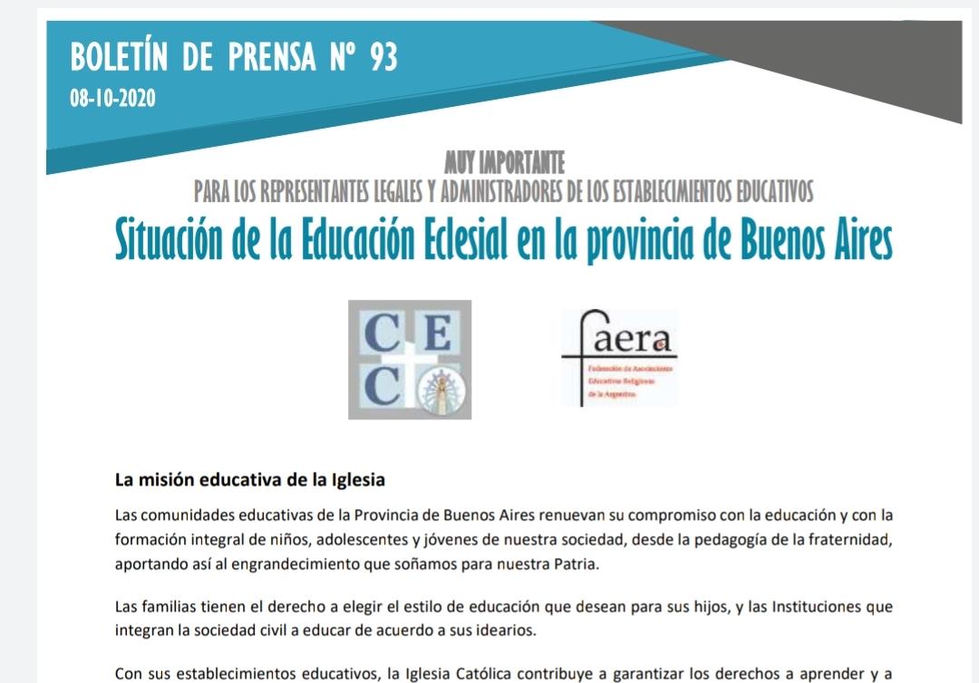Situación de la Educación Eclesial en la provincia de Buenos Aires
