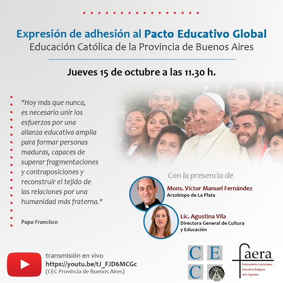 Francisco relanza el Pacto Educativo Global