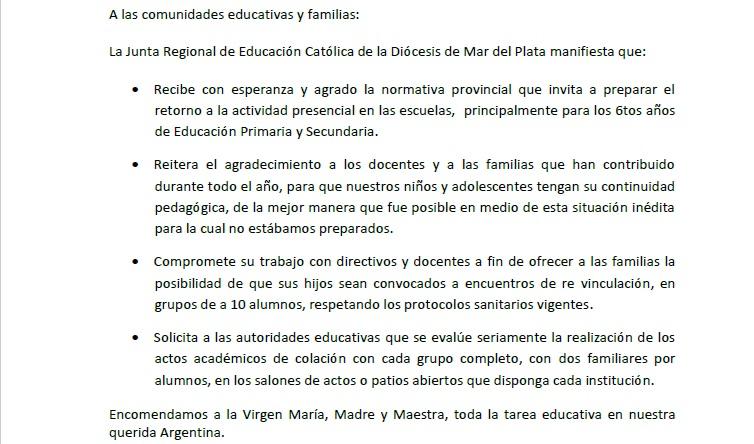 Comunicado de JuREC Mar del Plata sobre el retorno a la actividad presencial en escuelas