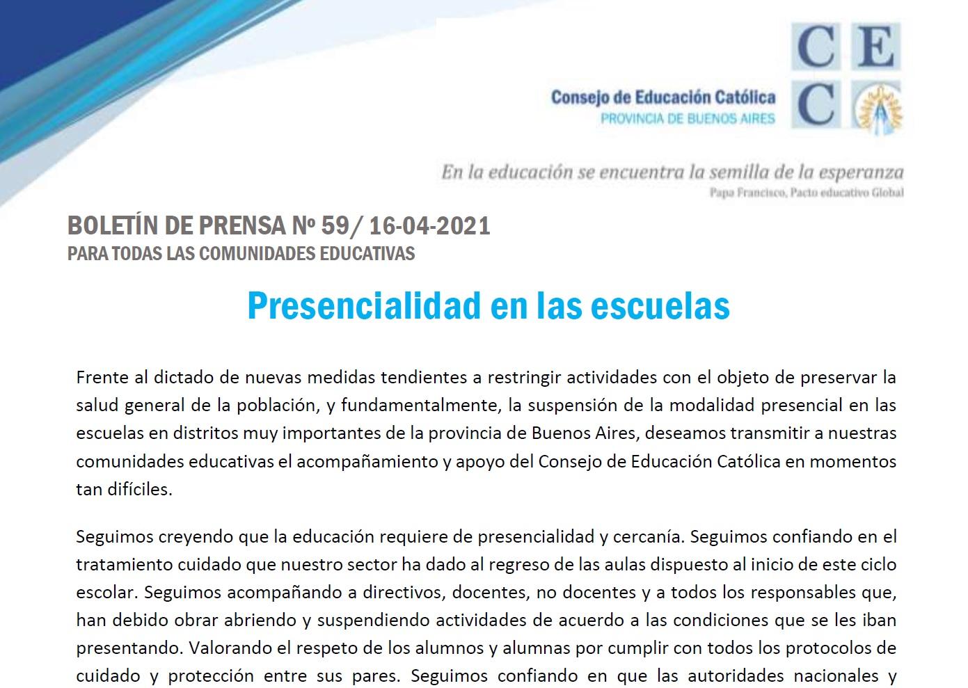 Comunicado del CEC: Presencialidad en las escuelas