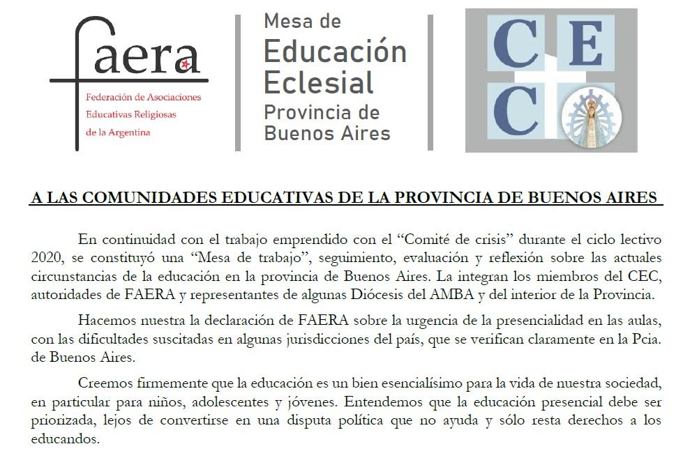 Comunicado de FAERA y CEC sobre la importancia de la presencialidad en las escuelas